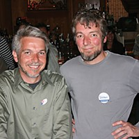 Election Results Mark Lovelace and his brother Doug at Plaza Grill. Photo by Bob Doran