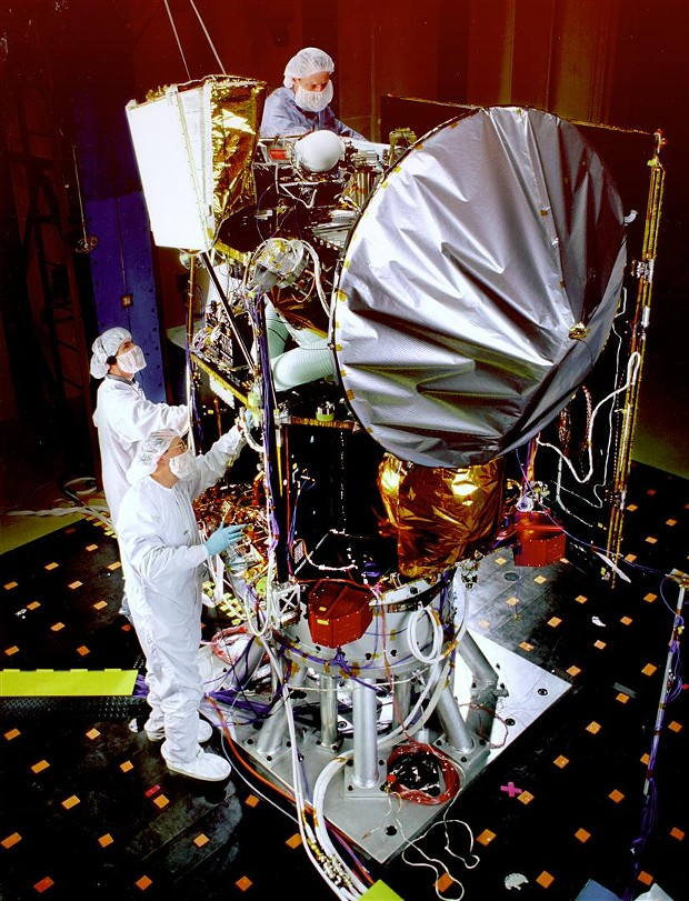 Mars Climate Orbiter during acoustic tests to simulate launch conditions. The spacecraft was lost on Sept. 23, 1999, due to a conversion error. - NASA