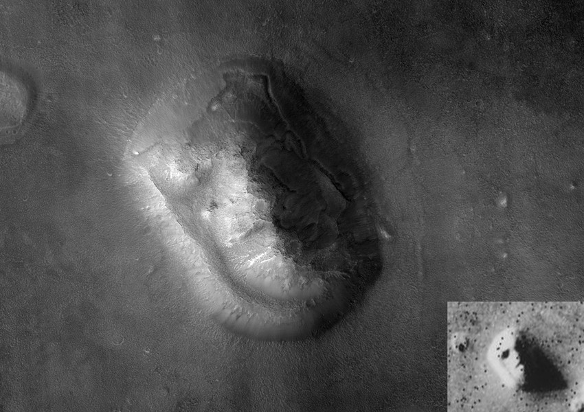 "Mars Reconnaissance Orbiter photograph of the eroded mesa known as the ""Face on Mars"" after the Viking 1 Orbiter 1976 image (inset). At three-foot spatial resolution, the 2007 MRO image is 100 times more detailed than the Viking photo. - COURTESY OF NASA"