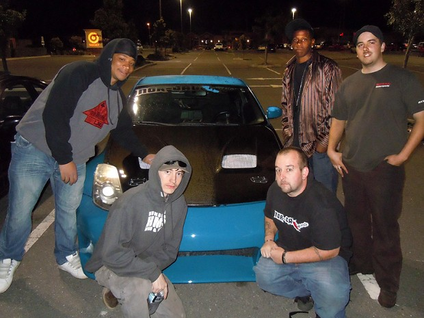 Members of Nor-Cal Imports car club, from left to right: Jamal Wyllie,  Nick Terrini, Brad Adams, Hakim Wyllie and Rick Arnold. - PHOTO BY HEIDI WALTERS