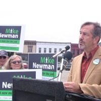 Michael Newman addresses supporters at his campaign kickoff last week.