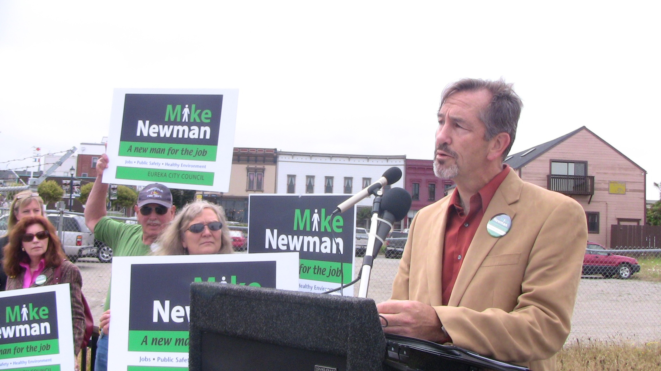 Michael Newman addresses supporters at his campaign kickoff last week. - PHOTO BY JOHN OSBORN