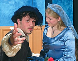 Michael Roscoe as Fenton and Jennifer Trustem as Anne in North Coast Repertory Theatre's 'The Merry Wives of Windsor'