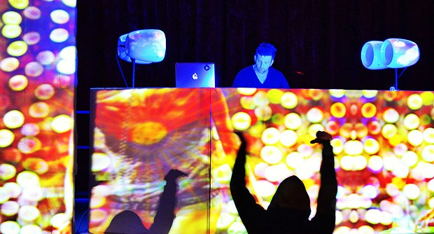 Miles Ross, aka Psy Fi, makes people dance at the Feb. 8 Lucid Dream Lab show at Arcata Theatre Lounge. - PHOTO BY BOB DORAN