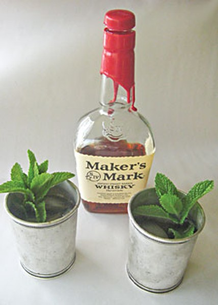 "My personal choices for mint julep are either Maker's Mark (Kentucky) or George Dickel (Tennessee), both distinguished ""sipping whiskeys,"" as Mama would say. Photo by Bob Doran."