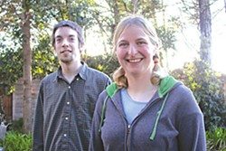Nathan Rasmussen and Tess Senty, HSU physics students who discovered a spiral galaxy. Photo by Heidi Walters.
