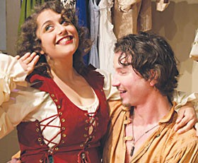 NCRT's Kiss Me Kate . Minderella Willens as Kate, Anthony Mankins as Petruchio.