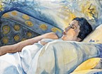 "New co-operative member Dana Ballard's watercolor ""Absolut Nap"" is at Arcata Artisans."