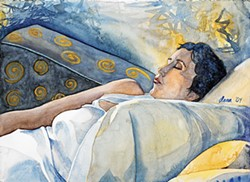 "New co-operative member Dana Ballard's watercolor ""Absolut Nap"" is at Arcata Artisans."
