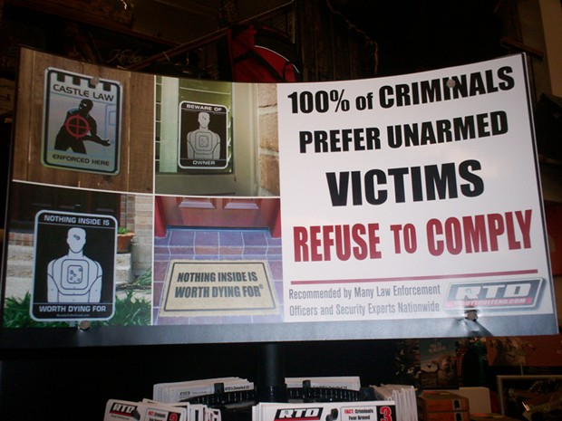 Some of the literature on display at the gun-law meeting in Eureka. - PHOTO BY LINDA STANSBERRY