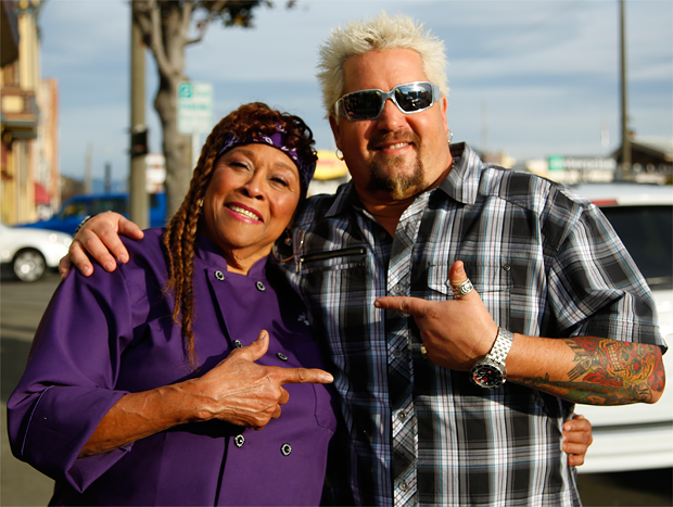 Sweet Mama Janisse and Guy Fiery filming Diners, Drive-ins and Dives. - COURTESY OF BLESS MY SOUL CAFE
