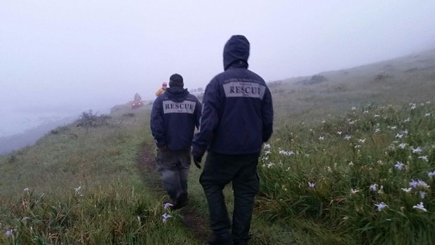 Rescue crews battled fog, an incoming tide, darkness and fatigue to save an injured hiker from a remote trail near Shelter Cove Sunday morning. - SUBMITTED