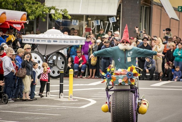 A gnome (racer Peter Wagner, of Davis) on the Bounce for Glory nears the starting line on the Arcata Plaza in 2014. - MARK LARSON