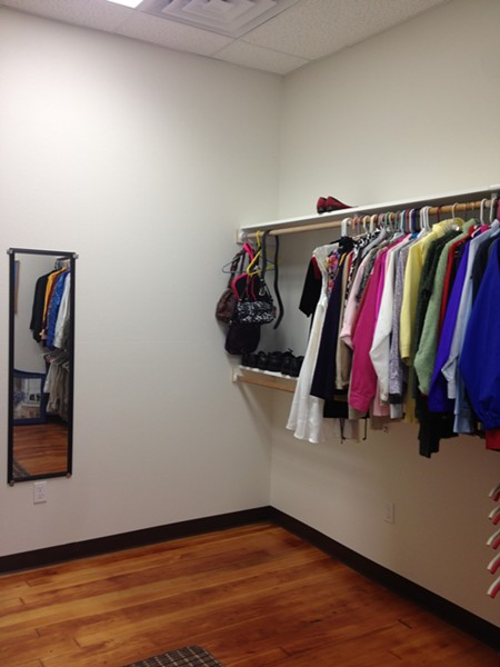 "The ""hire attire"" room inside the new Betty Kwan Chinn Day Center for the homeless. - PHOTO BY HEIDI WALTERS"