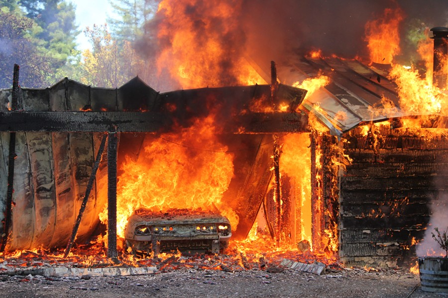 A home on West End Road burns on July 20. - AMY LONG, ARCATA FIRE PROTECTION DISTRICT.