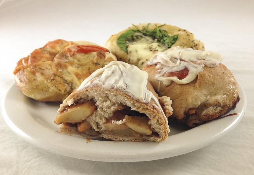 Tomato-basil, spinach-feta and apple strudel pretzels. - JENNIFER FUMIKO CAHILL