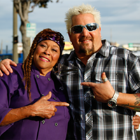 Sweet Mama Janisse and Guy Fiery filming Diners, Drive-ins and Dives.