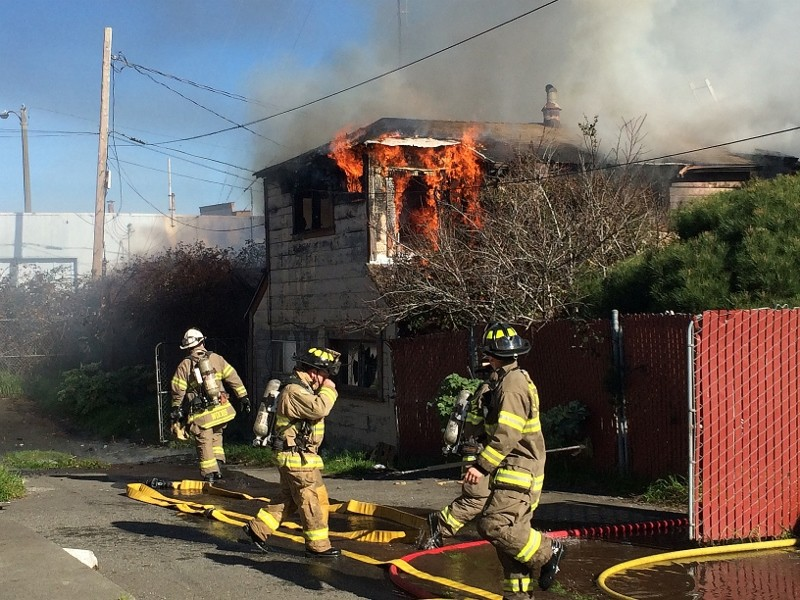 Humboldt Bay Fire crews responded to a fire on the 800 block of Summer Street in Eureka just after 11 a.m. Saturday. The single alarm fire sent heavy smoke billowing into the sky and could be seen from across town. - MARK MCKENNA