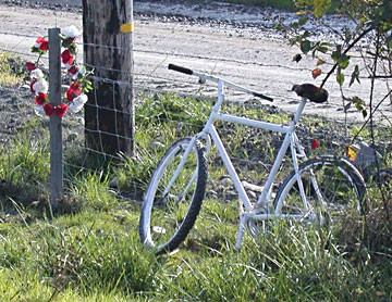 "The ""ghost bike"" installed in 2008 on the side of State Route 299 where cyclist Greg Jennings was killed by a car that traveled onto the shoulder where he was riding. - PHOTO BY HEIDI WALTERS"