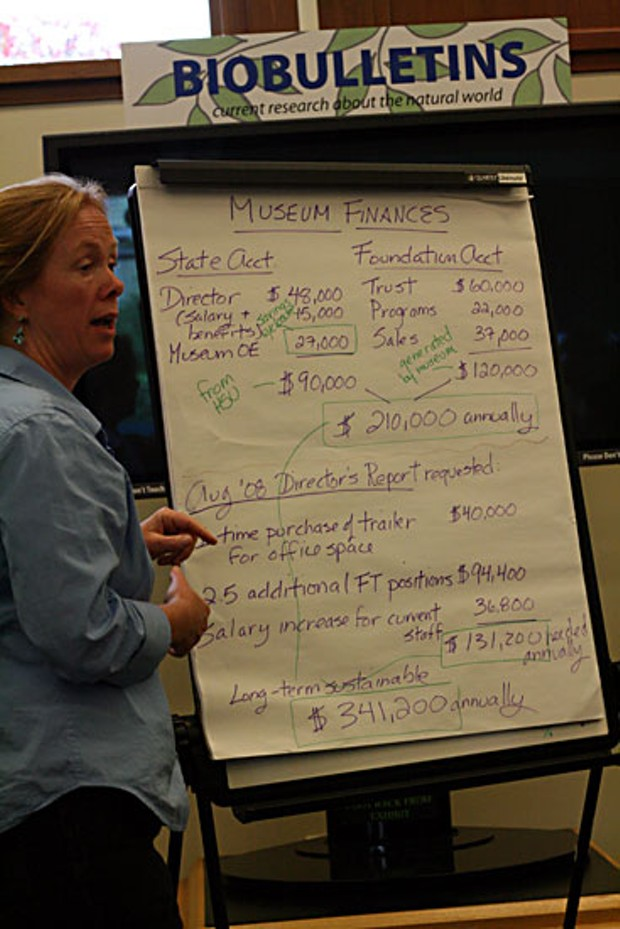 NHM board member Karen Reiss shows the projected budget laid out in the Crossroads report. Photo by Bob Doran