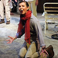 Norah Sadava as Mayor Tuttle in the Dell'Arte School's MFA Ensemble production of 'Between Two Winters.'