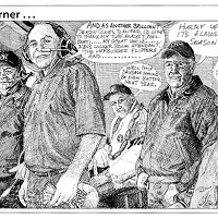 "Jack Mays Editorial Cartoons Nov. 11, 2006 -- Local sports broadcaster Tag Wotherspoon is known for his drawn out ""thank yous"" at the end of each Wildcat competition broadcasts, heard locally on KWPT. This cartoon depicted ""the guys"" in the broadcast booth at Ferndale High's Coach Carlson athletic field and their growing impatience with the effervescent Wotherspoon. Cartoon by Jack Mays and explanation by Caroline Titus, courtesy of The Ferndale Enterprise"