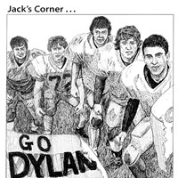 Jack Mays Editorial Cartoons Nov. 16, 2006 -- When Ferndale High School student Dylan Feierabend was diagnosed with a rare form or cancer, the community -- as it always does -- rallied around their schoolmate and his family with a fundraiser. Jack Mays drew a group of Ferndale High football players showing their support for the young Feierabend and donated the cartoon to the fundraising event. Cartoon by Jack Mays and explanation by Caroline Titus, courtesy of The Ferndale Enterprise