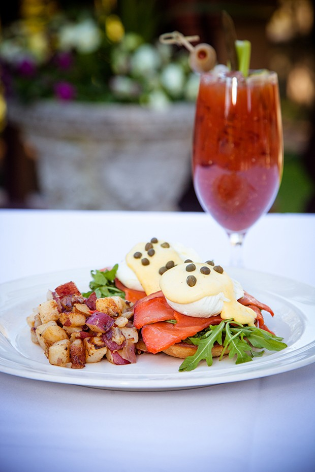Nova Scotia lox Benedict and a Bloody Mary on the Benbow Inn's terrace. - PHOTO BY AMY KUMLER