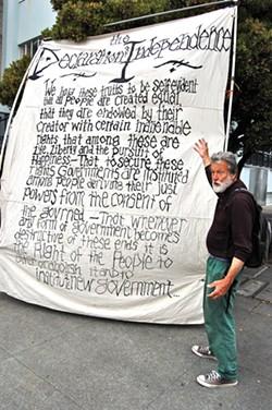 PHOTO BY ANDREW GOFF - Occupy Eureka member Jack Nounnan breaks it down.