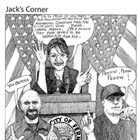 "Jack Mays Editorial Cartoons Oct. 23, 2008 -- When Ferndale City Council candidates David Walters, left, and Shannon Leonardo, right refused to answer written submitted questions, submitted to them by The Enterprise for an election preview story, the candidates' ""no-talk"" policy reminded him of a similar strategy of the Republican party's 2008 vice-presidential nominee, Sarah Palin. Cartoon by Jack Mays and explanation by Caroline Titus, courtesy of The Ferndale Enterprise"