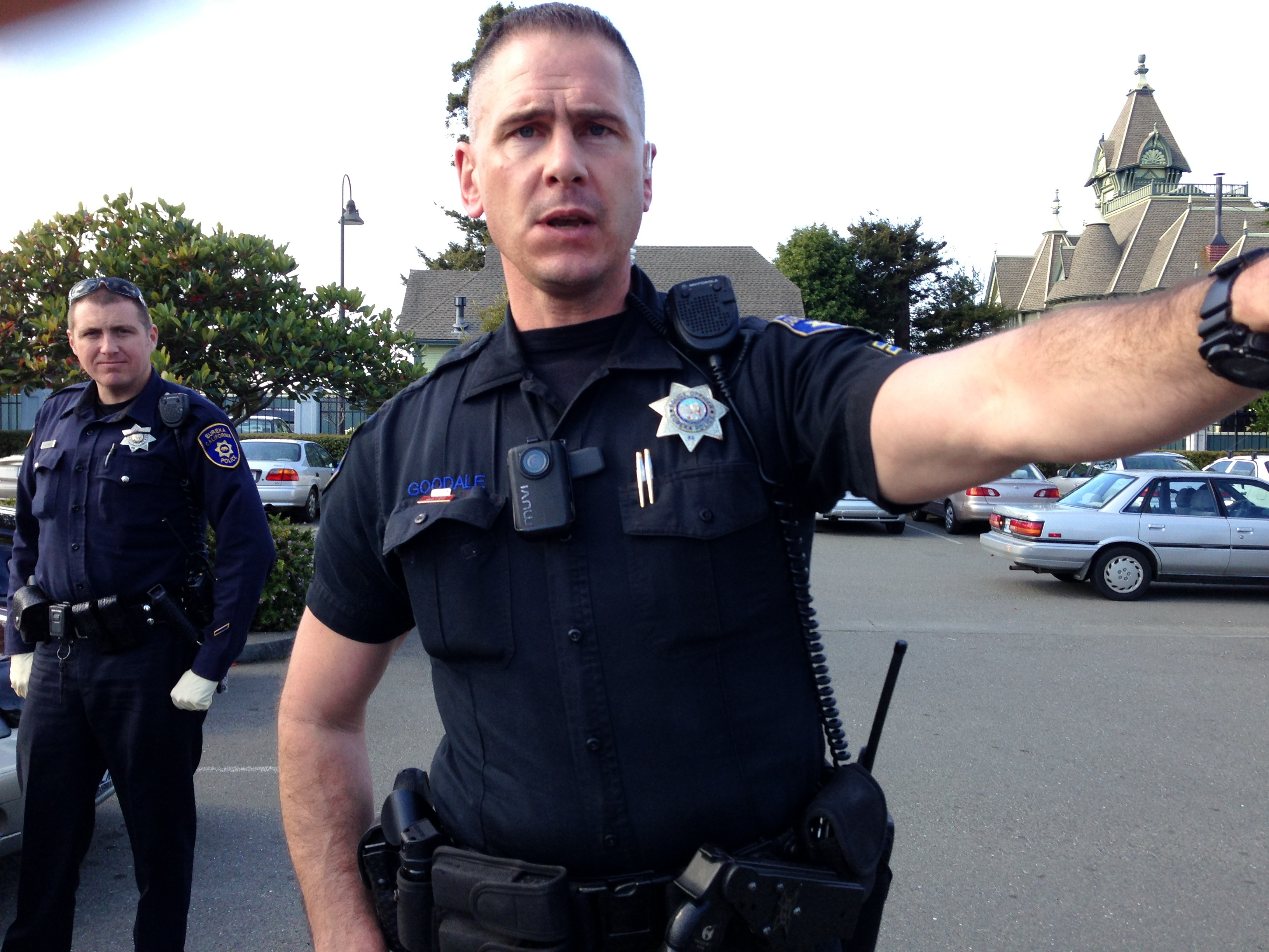 Officer Drake Goodale, as he successfully shuts down photography in a public place. - PHOTO BY CARRIE PEYTON DAHLBERG