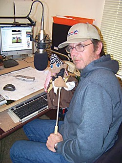 Old Glory Radio's creator and producer Tom Fredriksen -- and friend. Photo by Heidi Walters