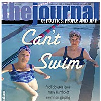 Can't Swim On the cover: Junie Speier and Ina Harris at the Eureka High Pool. Photo by Heidi Walters.