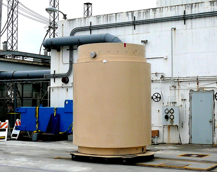 "One of the five ""Hi-Star"" dry casks at the Humboldt Bay Power Plant which contain 390 of the total 660 spent nuclear fuel rod assemblies from 13 years of operation. (The remaining rods were sent offsite for reprocessing.) - COURTESY PG&E."