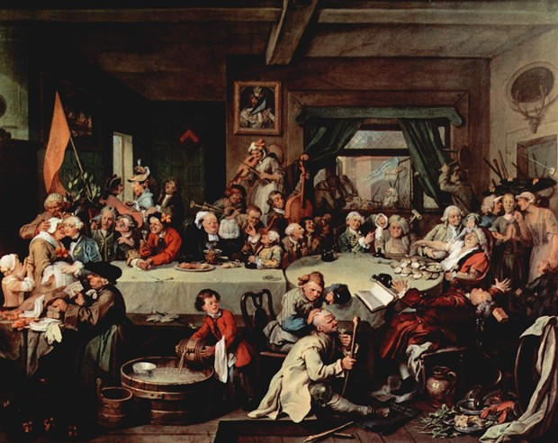 "One of William Hogarth's ""Humours of an Election"" satirical paintings of 1755 shows a ""Give us our Eleven Days"" banner (on floor) protesting against the 1752 switch to the Gregorian calendar. - THE YORCK PROJECT, PUBLIC DOMAIN"