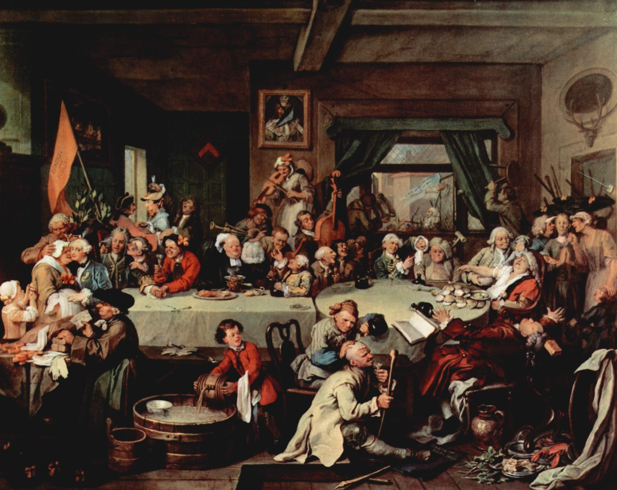 """One of William Hogarth's """"Humours of an Election"""" satirical paintings of 1755 shows a """"Give us our Eleven Days"""" banner (on floor) protesting against the 1752 switch to the Gregorian calendar. - THE YORCK PROJECT, PUBLIC DOMAIN"""