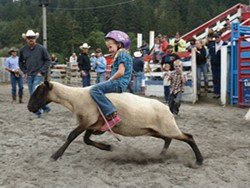 PHOTO BY RYAN BURNS - one youngster displays proper riding form ...