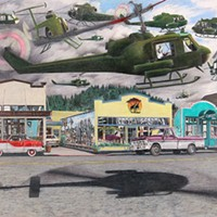 "Jack Mays Artwork ""Outbreak"" movie, helicopters on Main Street Colored pencil drawing by Jack Mays, image courtesy of Carrie Grant"
