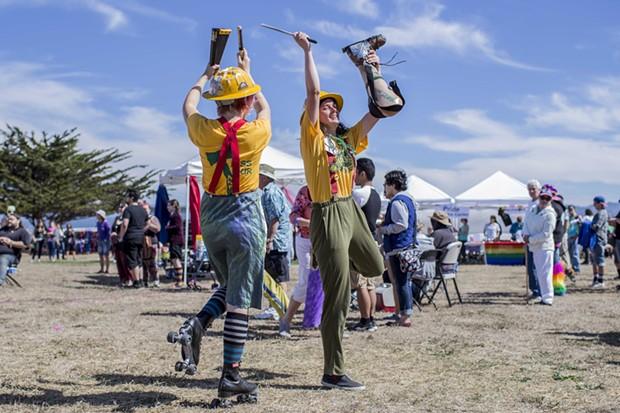 The HSU Marching Lumberjacks performing at the Humboldt Pride Revolution Parade and Festival in Eureka, Sat. Sept. 13.