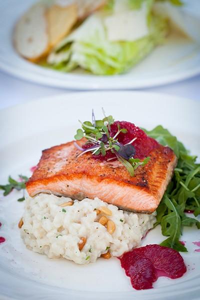 Benbow Inn's pan-seared steelhead salmon with pine nut risotto. - PHOTO BY AMY KUMLER