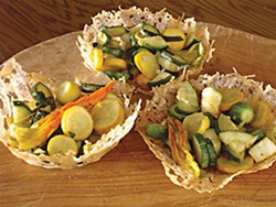 Parmigiano Baskets with Zucchini and Blossoms. Photo by Simona Carini