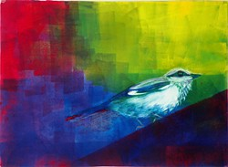 Patricia Sennott's boldly hued paintings are featured this month at Arcata Artisans.