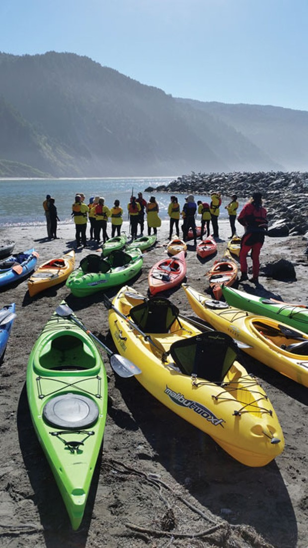 Kayaks at Shelter Cove - PHOTO COURTESY OF PACIFIC OUTFITTERS