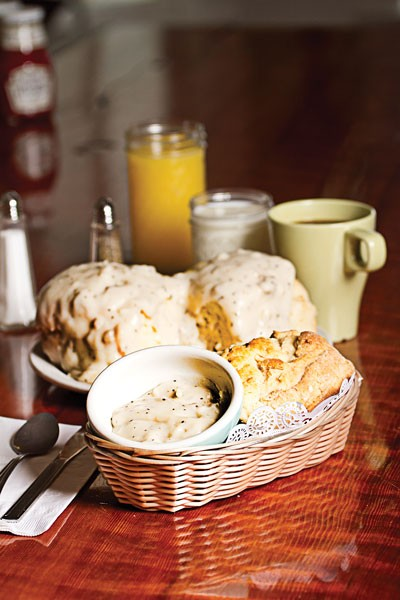 Biscuits and gravy at T's Cafe - PHOTO BY TERRENCE MCNALLY