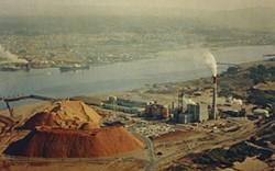 HUMBOLDT ROOM COLLECTION, HSU. - postcard of Georgia-Pacific Pulp Mill, Eureka and Humboldt Bay, Circa 1965