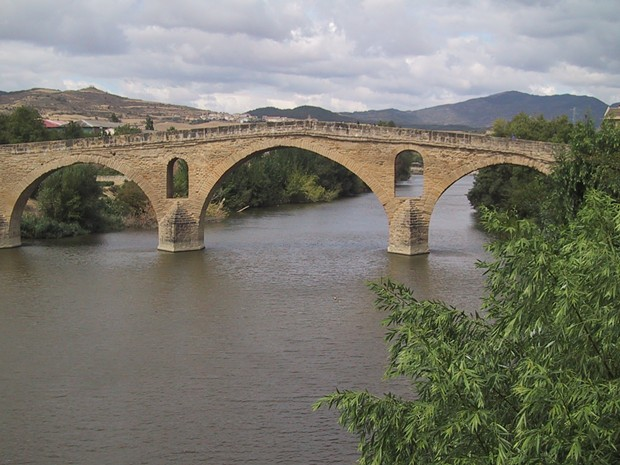 Puente La Reina marks the approximate western boundary of Spain's Basque Country (Euskal Herria). The bridge was built in the middle ages across the river Arga for Camino de Santiago pilgrims.