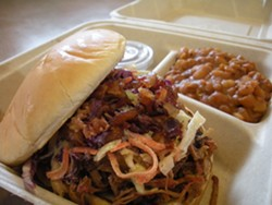 PHOTO BY JENNIFER FUMIKO CAHILL - Pulled pork at Humboldt Smokehouse.