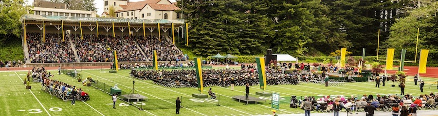 Redwood Bowl had a packed house for the 8:30 a.m. Arts, Humanities & Social Sciences Commencement at Humboldt State University on Saturday, May 16 (multiple-image stitched panorama). - MARK LARSON