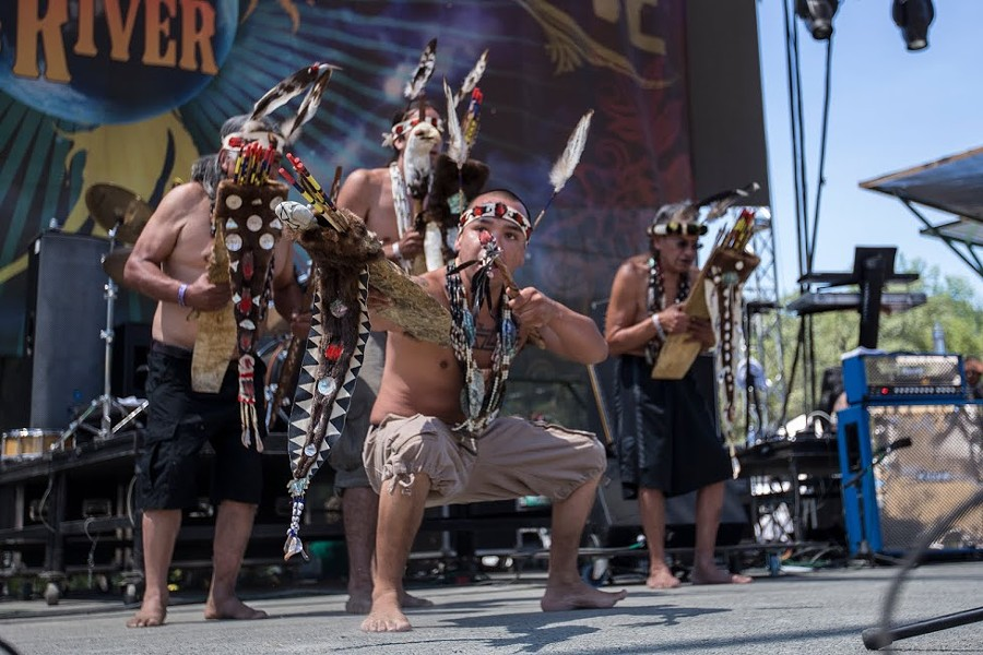 Karuk and Yurok men demonstrate a brush dance at the 30th Annual Reggae On The River 2014, Friday Aug.1. - ALEXANDER WOODARD