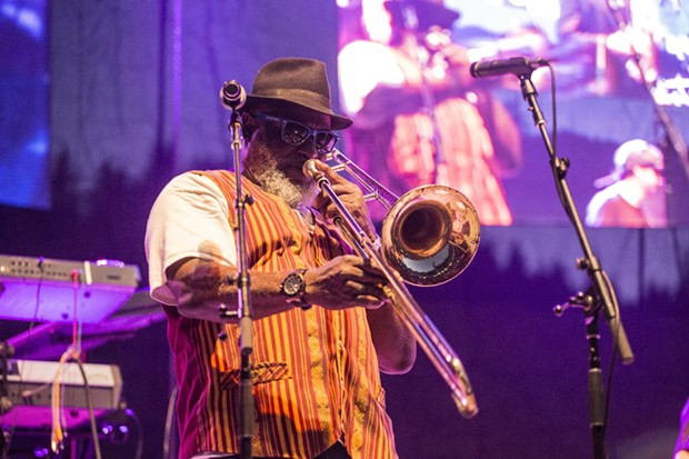 "Ronald ""Nambo"" Robinson performing with Sly & Robbie and the Taxi Gang at the 30th Annual Reggae On The River 2014, Friday Aug. 1."